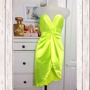 Dresses & Skirts - Neon Green Satin Twist Knot Detail Dress